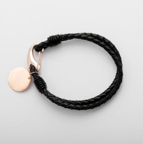 Bracelet en cuir tressé noir avec pendentif rond