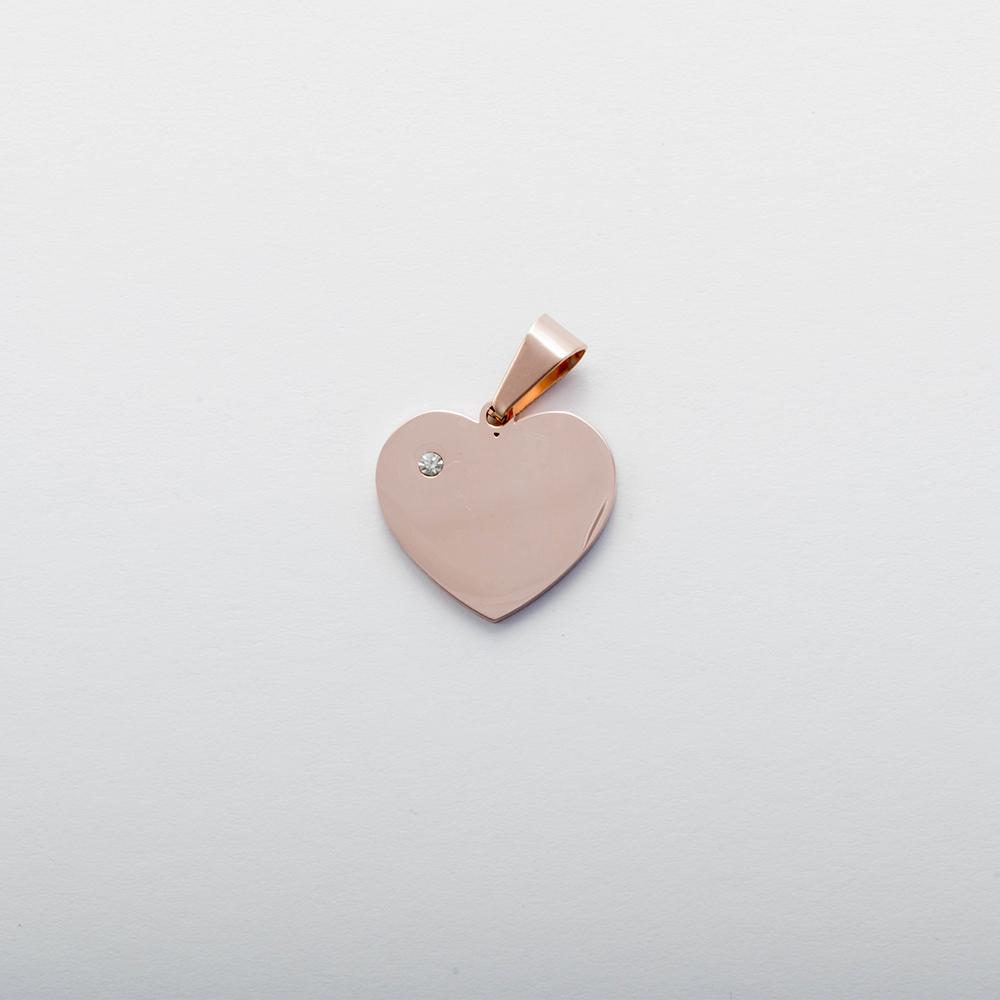 Pendentif coeur avec pierre de Swarovski  M, couleur Or Rose