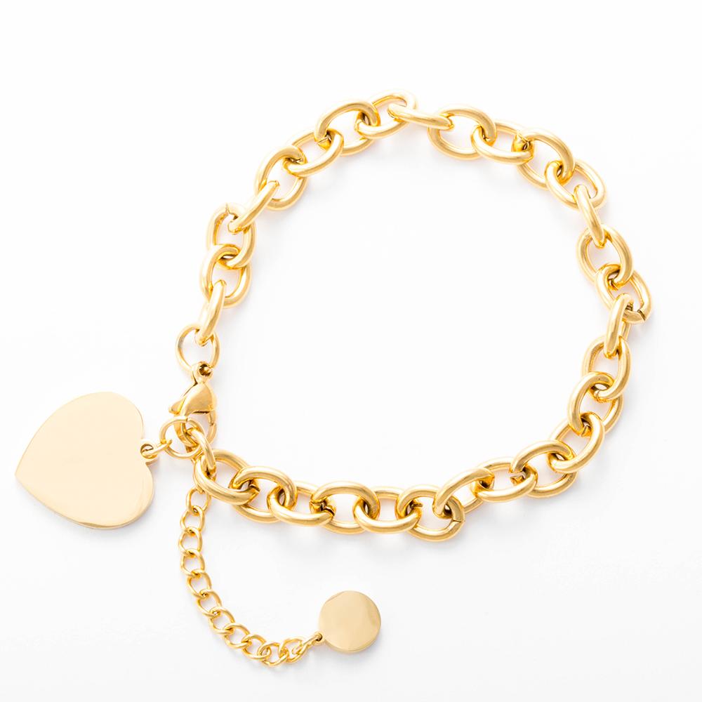 Bracelet avec pendentif coeur couleur or