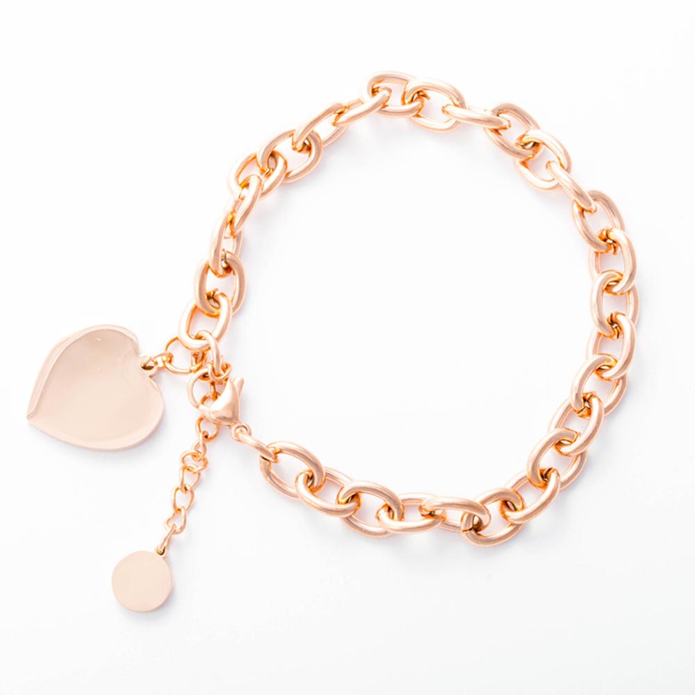 Bracelet avec pendentif coeur couleur or rose