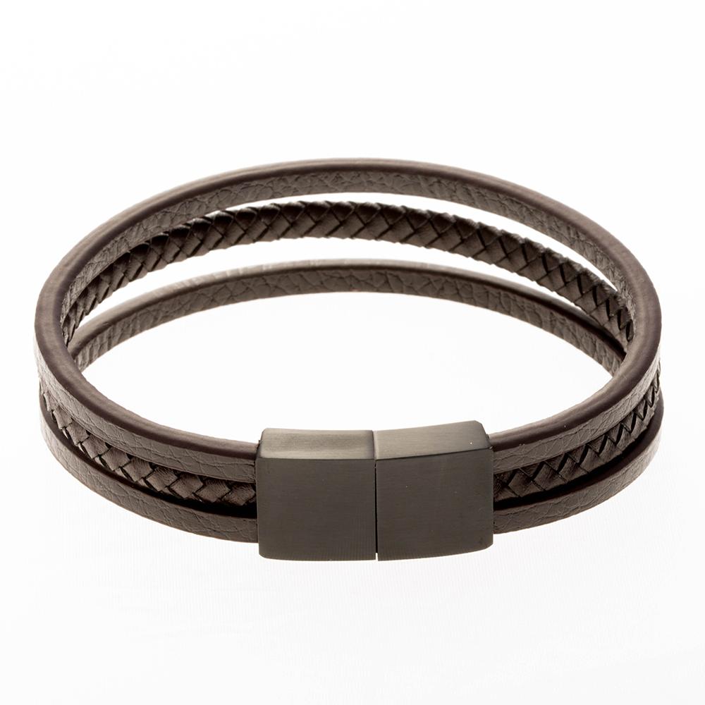 Bracelet en cuir marron 18cm avec fermoir en acier inoxydable / noir