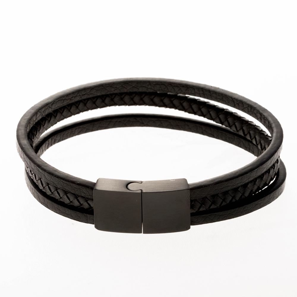 Bracelet en cuir noir 21cm avec fermoir en acier inoxydable / noir
