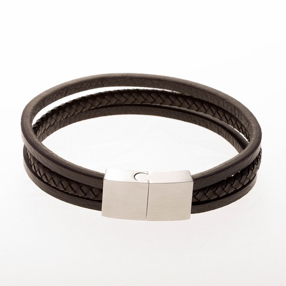 Bracelet en cuir marron 18cm avec fermoir en acier inoxydable / acier