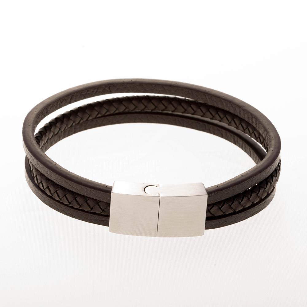 Bracelet en cuir marron 21cm avec fermoir en acier inoxydable / acier