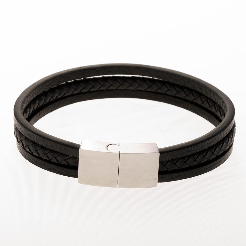 Bracelet en cuir noir 21cm avec fermoir en acier inoxydable / acier