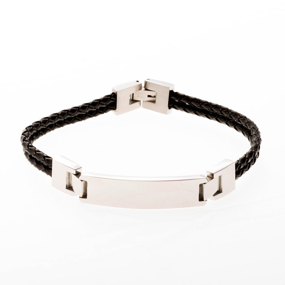 Bracelet à double rangée en cuir noir de 19cm  avec plaque à graver en acier inoxydable