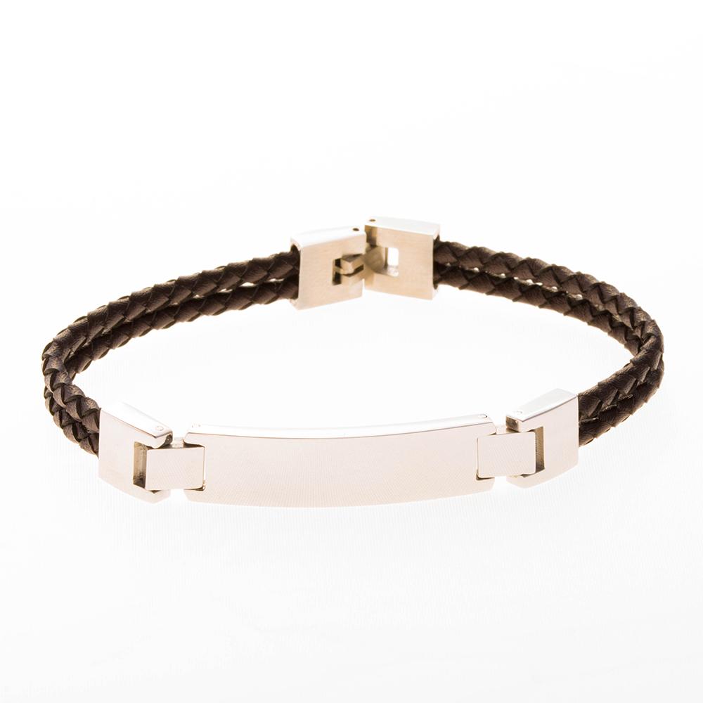 Bracelet à double rangée en cuir marron de 19cm avec plaque à graver en acier inoxydable
