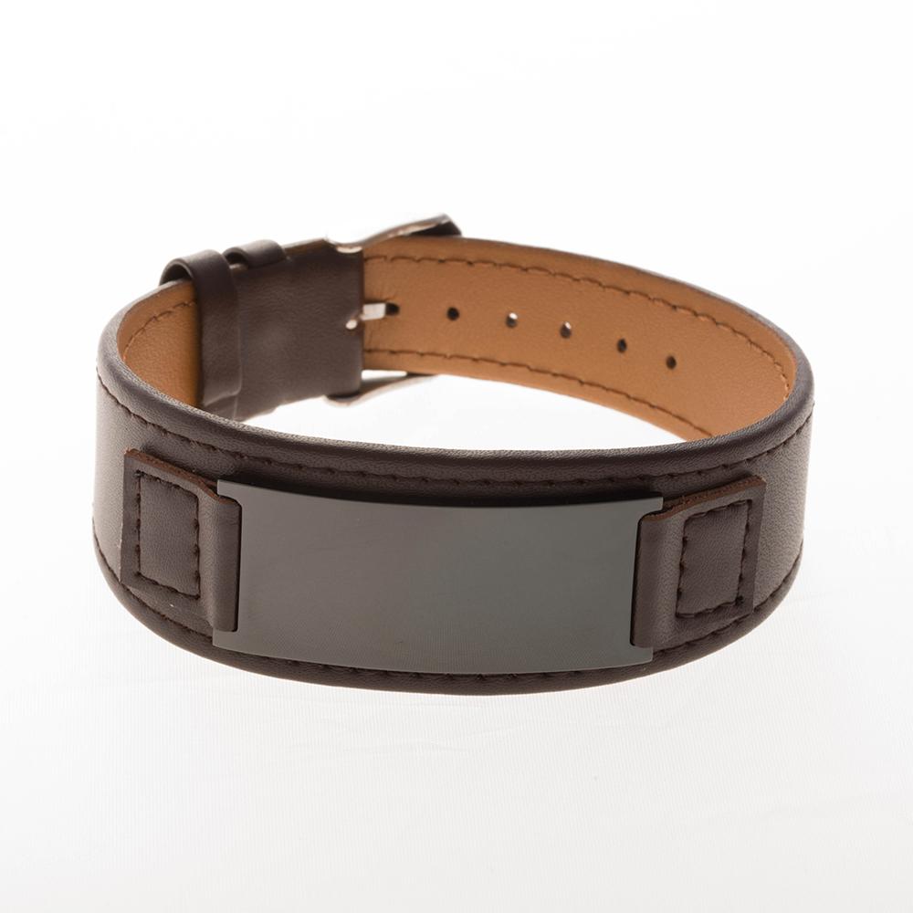 Bracelet en cuir marron, large plaque à graver noire