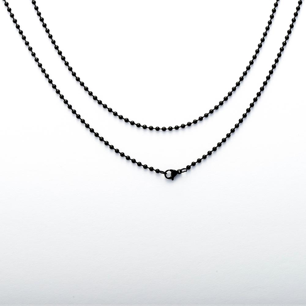 Chaîne à billes en acier inoxydable avec mousqueton, 70 cm de long, Noir