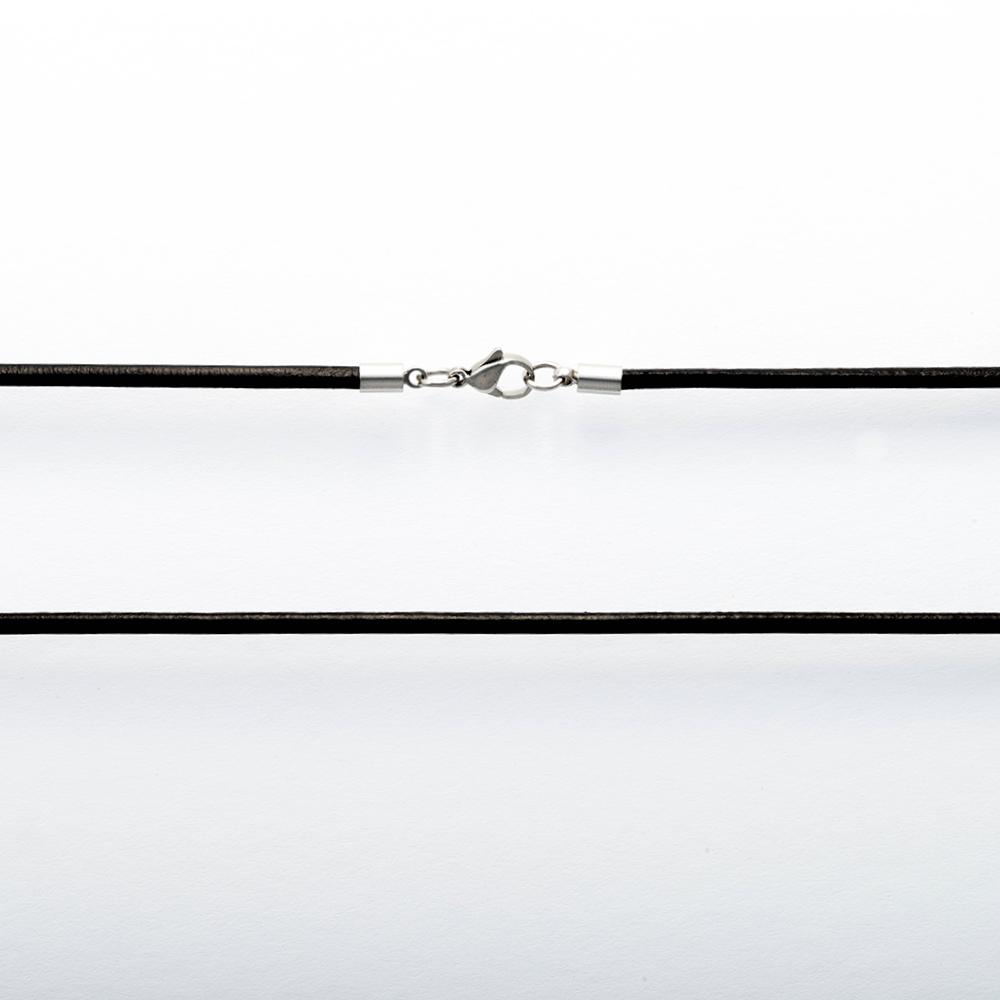 Collier en cuir Noir, longueur 80 cm ø 3mm