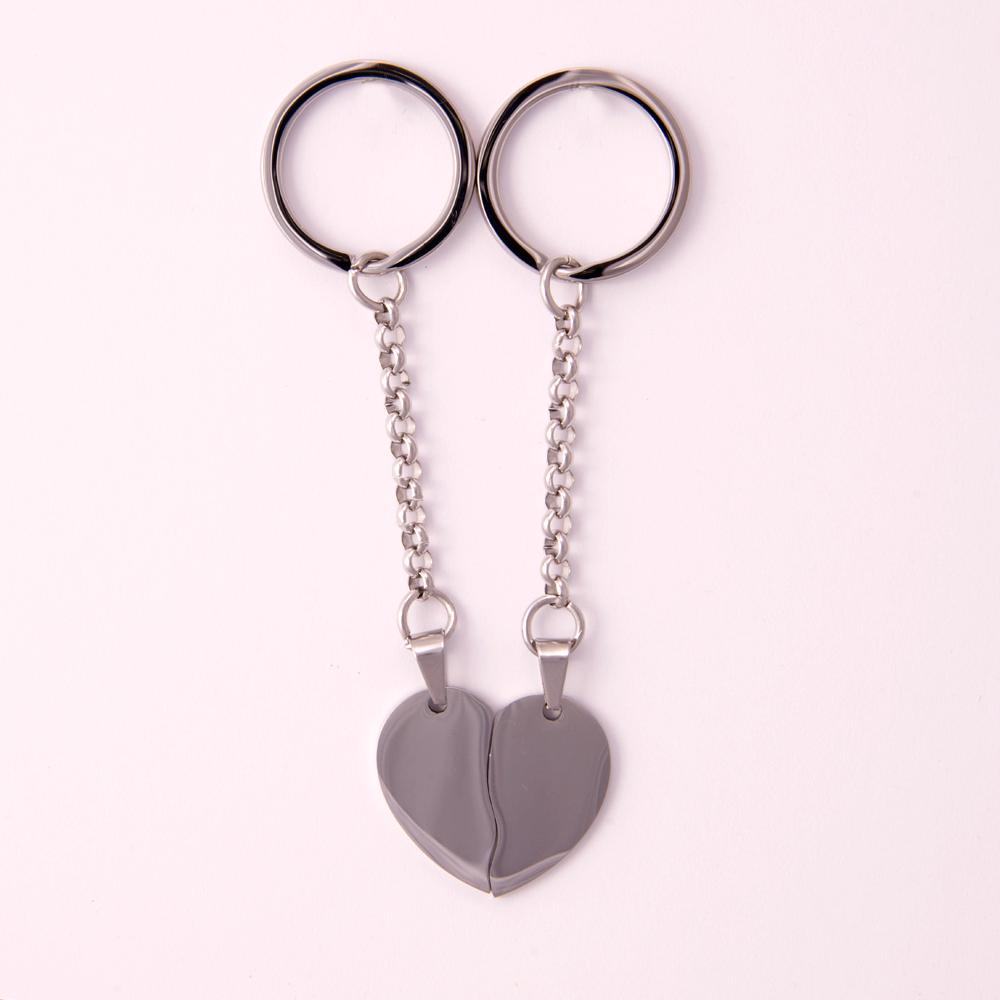 Porte-clés coeur divisé L, couleur Acier