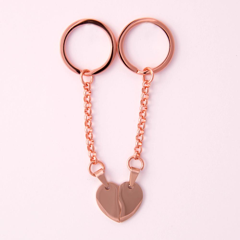 Porte-clés coeur divisé L, couleur or rose