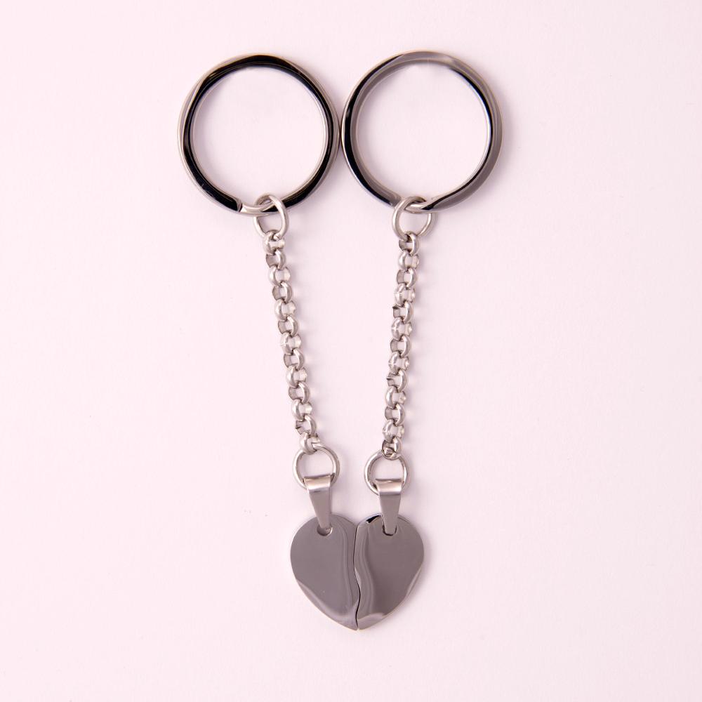Porte-clés Coeur divisé M, couleur Acier