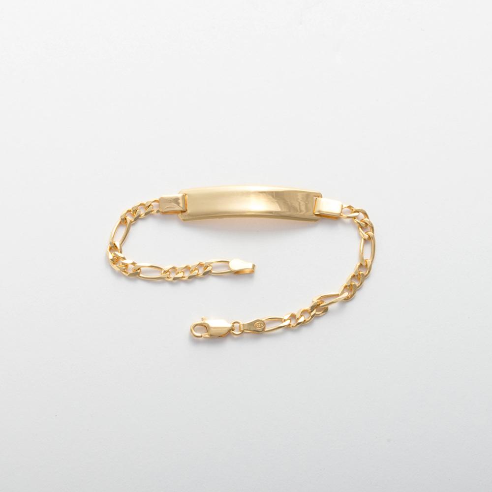 Bracelet en argent sterling 925/1000, 19 cm plaqué OR