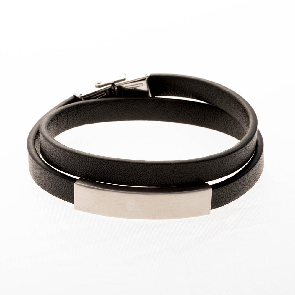 Bracelet en cuir double noir, plaque à graver acier