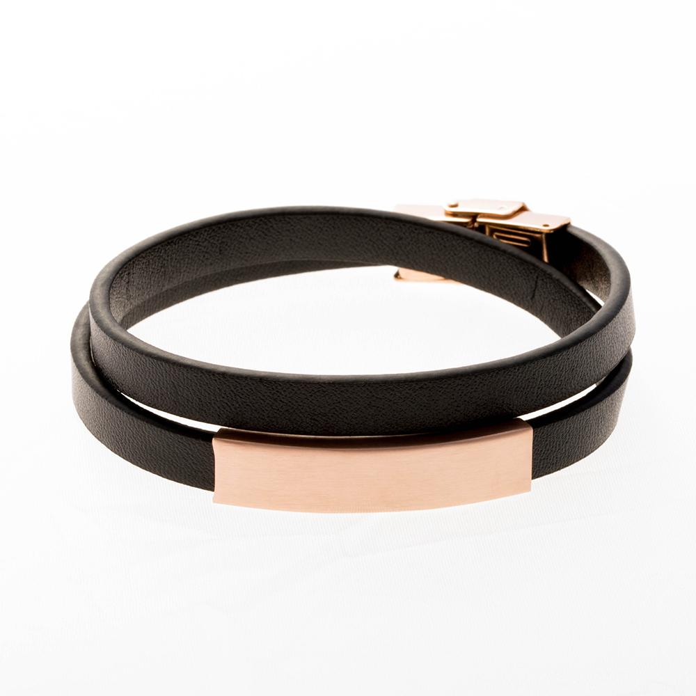 Bracelet en cuir double noir, plaque à graver or rose