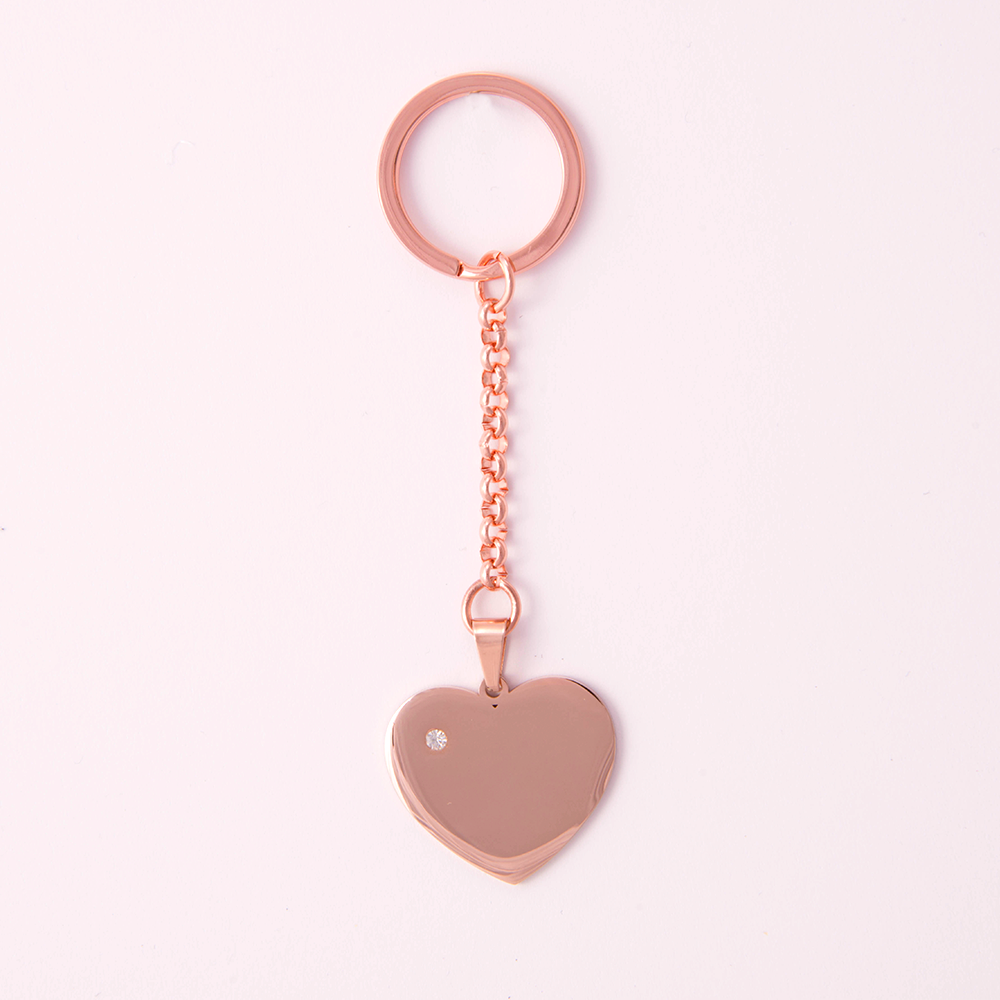 Porte-clés coeur avec pierre Swarovski L, couleur or rose