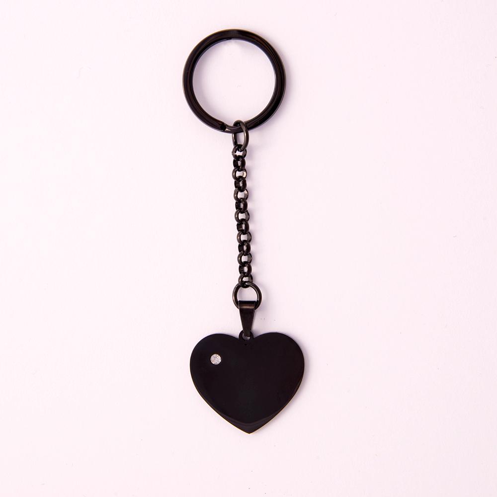 Porte-clés coeur avec pierre Swarovski L, couleur Noir