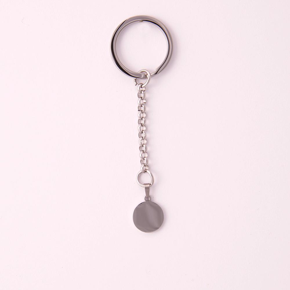 Porte-clés rond S, couleur Acier