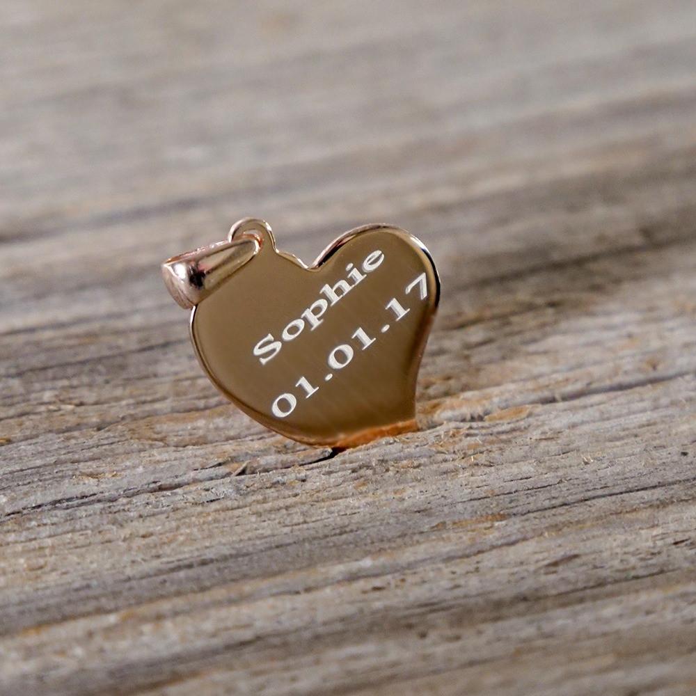 Pendentif coeur courbé en argent sterling 925/1000 plaqué or rose