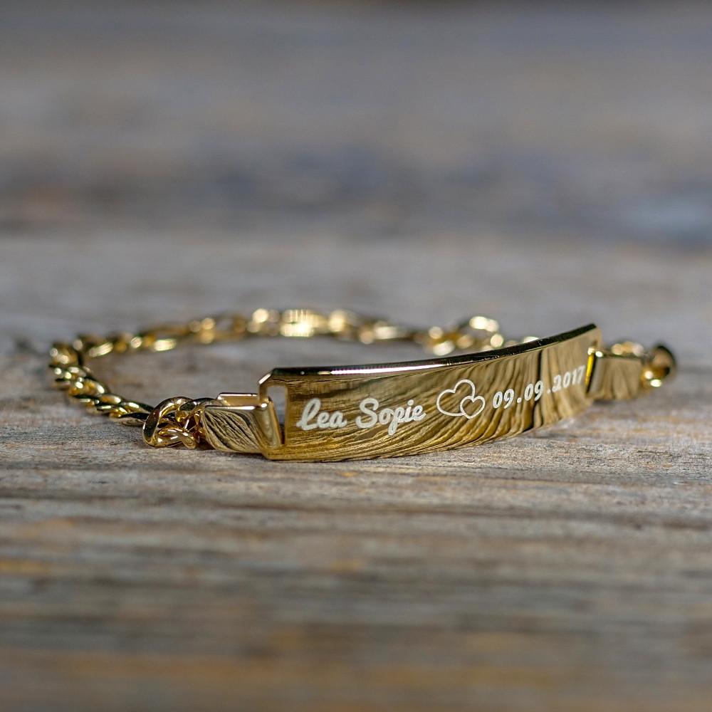 Bracelet en argent sterling 925/1000, 16 cm plaqué Or