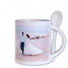 Photo tasse avec cuillère, blanc, avec sa propre photo