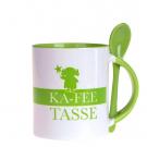 Photo tasse avec cuillère, vert, avec sa propre photo