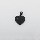 Pendentif coeur avec pierre de Swarovski  M, couleur Noir