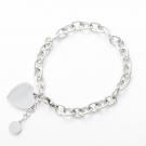 Bracelet avec pendentif coeur couleur argent