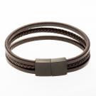 Bracelet en cuir / marron avec fermoir en acier inoxydable / noir 21 cm