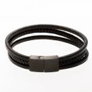 Bracelet en cuir / noir avec fermoir en acier inoxydable / noir 21 cm