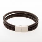 Bracelet en cuir / marron avec fermoir en acier inoxydable / acier 21 cm