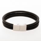 Bracelet en cuir / noir avec fermoir en acier inoxydable / acier 21 cm