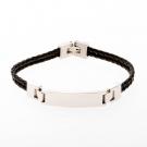 Bracelet à double rangée en cuir noir de 21cm avec plaque à graver en acier inoxydable