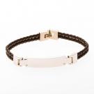 Bracelet en cuir à double rangée avec plaque en acier inoxydable à graver, marron, 19 cm