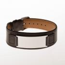 Bracelet en cuir marron, large plaque à graver acier