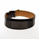 Bracelet en cuir noir, plaque large gravée noire