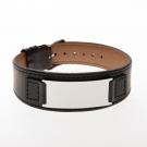 Bracelet en cuir noir, plaque large gravée acier