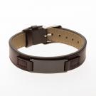 Bracelet en cuir marron, plaque à graver étroite noir