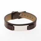 Bracelet en cuir marron, plaque à graver étroite acier