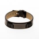 Bracelet en cuir noir, plaque à graver étroite noir