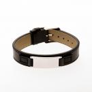 Bracelet en cuir noir, plaque à graver étroite acier