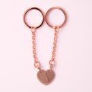 Porte-clés Coeur divisé M, couleur or rose