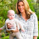 Bavoir bébé ourlet rose avec photo