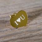 Pendentif coeur symétrique en argent sterling 925/1000 plaqué or