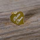 Pendentif coeur courbé en argent sterling 925/1000 plaqué Or