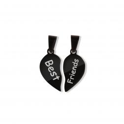 Pendentif coeur divisé M, couleur Noir