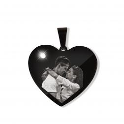 Pendentif coeur avec pierre de Swarovski L, couleur Noir