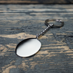 Porte-clés Ovale L, couleur Acier