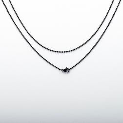 Chaîne à billes en acier inoxydable avec mousqueton, 60 cm de long, noir